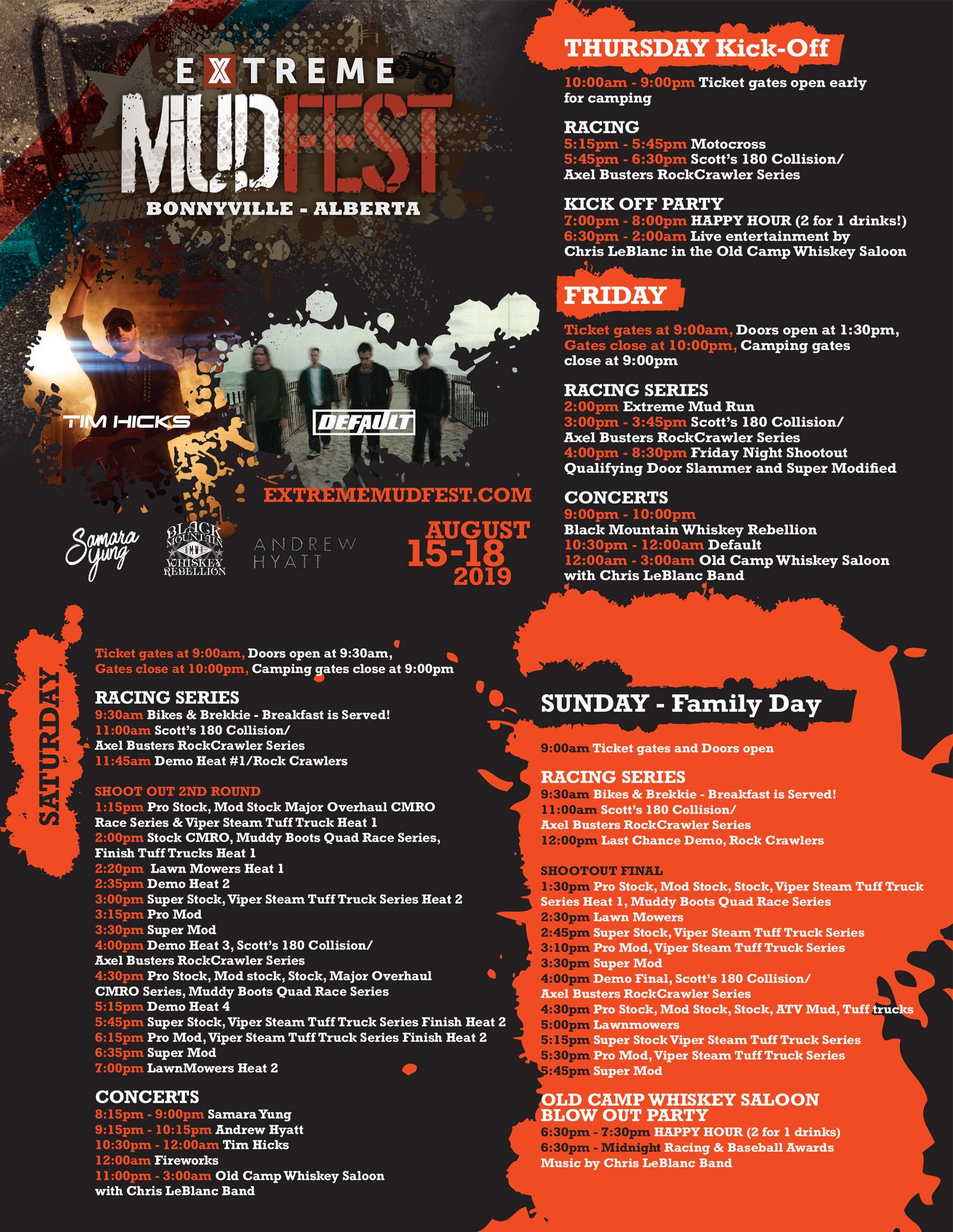 Extreme Mudfest 2019 Schedule